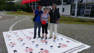 Aktion zur Rentenkampagne vor der Deutschen Rentenversicherung Mitteldeutschland